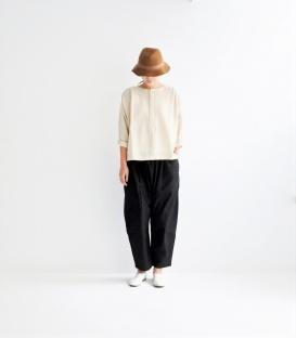 ichi 薄毛料開半襟套衫