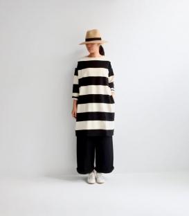 ichi  寬橫條長袖洋裝