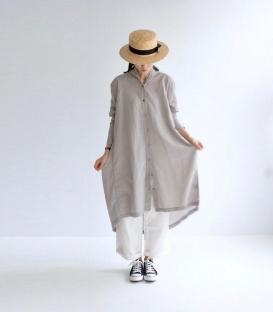 ichi 薄綿長版襯衫