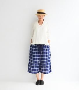 ichi 格紋綁帶寬褲