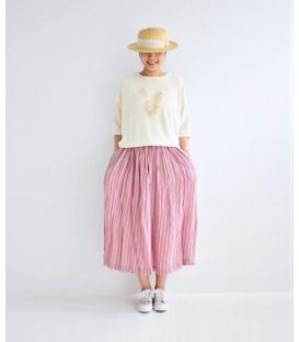 ICHI Antiquités直條紋麻裙