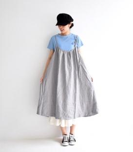 ichi 細肩綁帶麻料寬版洋裝
