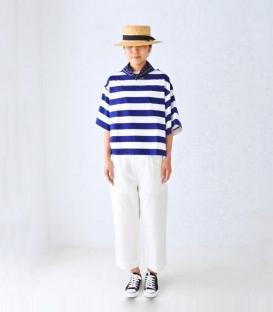 ichi 圓領寬袖條紋上衣