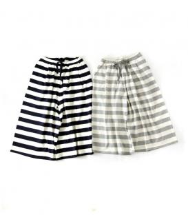 ichi 寬條紋長寬褲