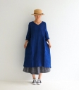 ICHI Antiquités 藍染V領雙口袋洋裝
