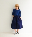 ICHI Antiquités 藍染麻料長版上衣