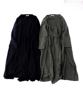 ICHI Antiquités 麻料綁帶罩衫