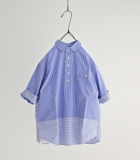 快晴堂 格紋直條拼接襯衫