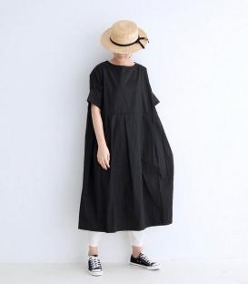 ichi 圓領短袖寬百褶洋裝