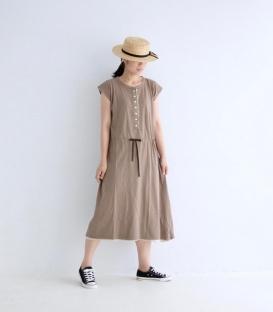 ichi  圓立領開半襟抽繩洋裝
