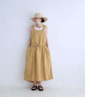 ichi 麻料綁帶背心洋裝