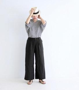 ichi 麻料直筒寬褲