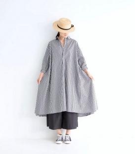 ichi 格紋V領A版洋裝