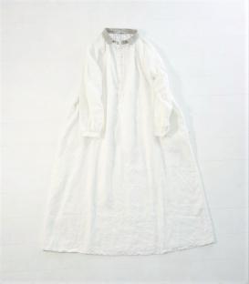 ICHI Antiquités 領口拼色開半襟澎袖洋裝