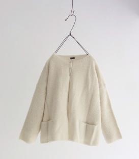 ichi 雙口袋短版針織毛料外套