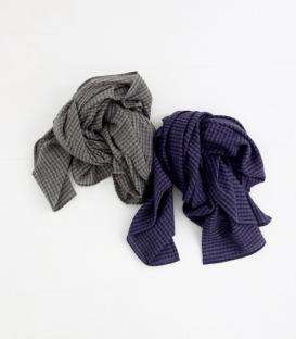 ichi  薄毛料細格紋圍巾