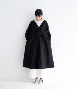 ichi V領高腰壓褶長袖洋裝
