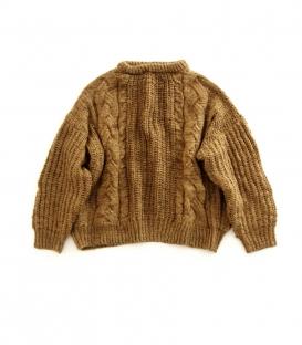 ichi 圓領麻花邊編織短版毛衣