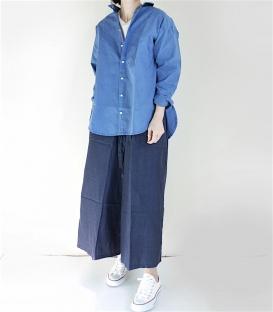 ichi 挺棉側衣擺開衩襯衫