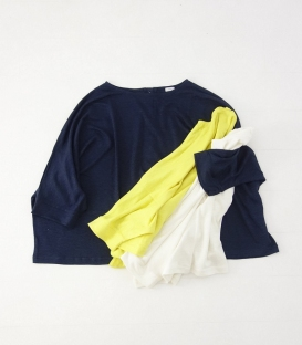 ichi 亞麻針織後釦連袖上衣