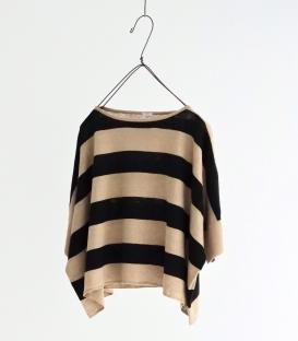 ichi 寬橫條短版針織上衣