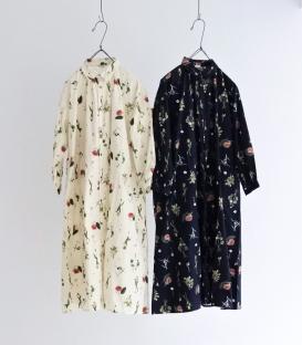 ichi 復古花草印花襯衫洋裝