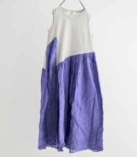 UNIVERSAL TISSU 棉背心拼直紋洋裝