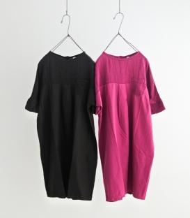 Brocante 綿麻拼接左胸口袋寬袖洋裝