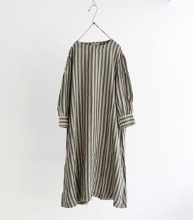 ICHI Antiquités 麻料直條紋長袖A版洋裝