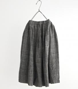 prit   細格紋麻料鬆緊帶裙