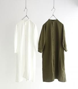 ichi 小立領二重紗織全開釦洋裝