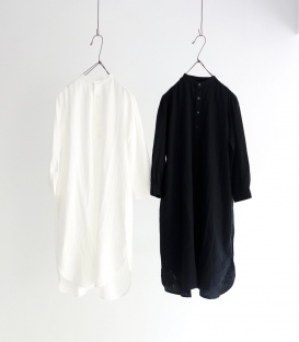 ichi 小立領二重紗織半開襟洋裝