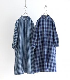 ichi Indigo棉麻格紋長版襯衫洋裝