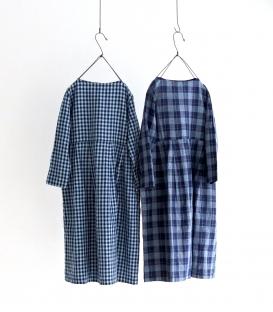 ichi Indigo棉麻格紋長袖洋裝